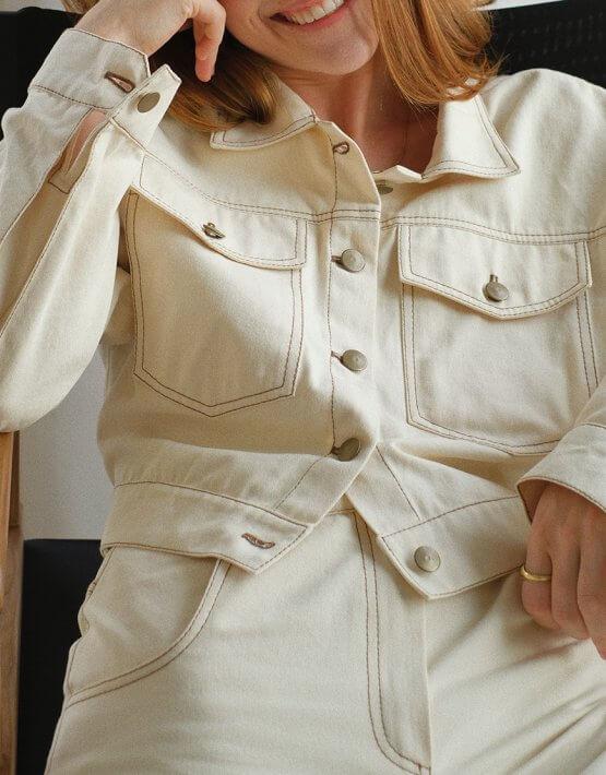 Укороченная куртка из денима MSY_denim_jacket_ivory, фото 3 - в интеренет магазине KAPSULA
