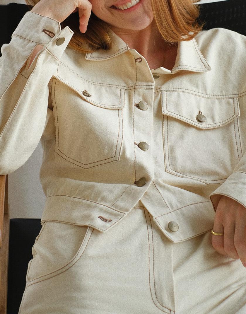 Укороченная куртка из денима MSY_denim_jacket_ivory, фото 1 - в интернет магазине KAPSULA