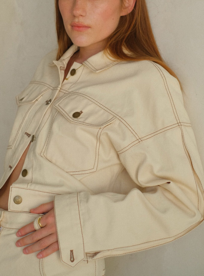 Укороченная куртка из денима MSY_denim_jacket_ivory, фото 1 - в интеренет магазине KAPSULA