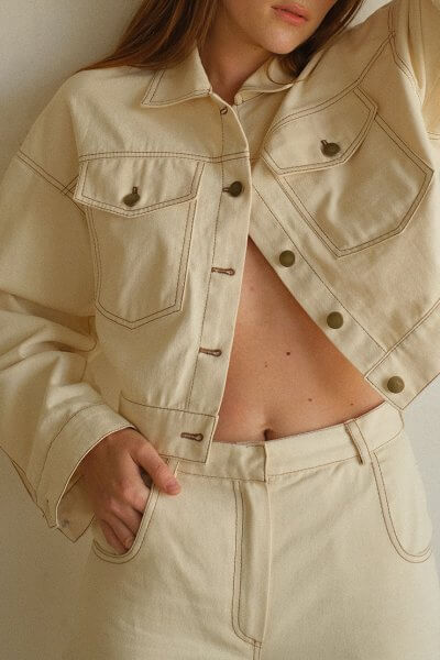 Укороченная куртка из денима MSY_denim_jacket_ivory, фото 1 - в интеренет магазине KAPSULA
