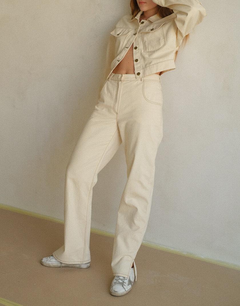 Брюки из денима с разрезами MSY_denim_pants_ivory, фото 1 - в интернет магазине KAPSULA
