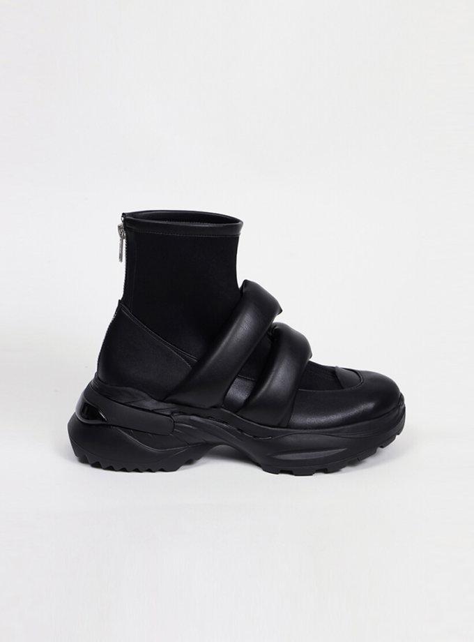 Ботинки из кожи с дутыми ремнями CLS_CFW20PBB_black, фото 1 - в интеренет магазине KAPSULA