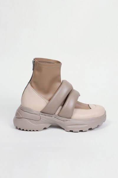 Ботинки из кожи с дутыми ремнями CLS_CFW20PBB_beige, фото 6 - в интеренет магазине KAPSULA