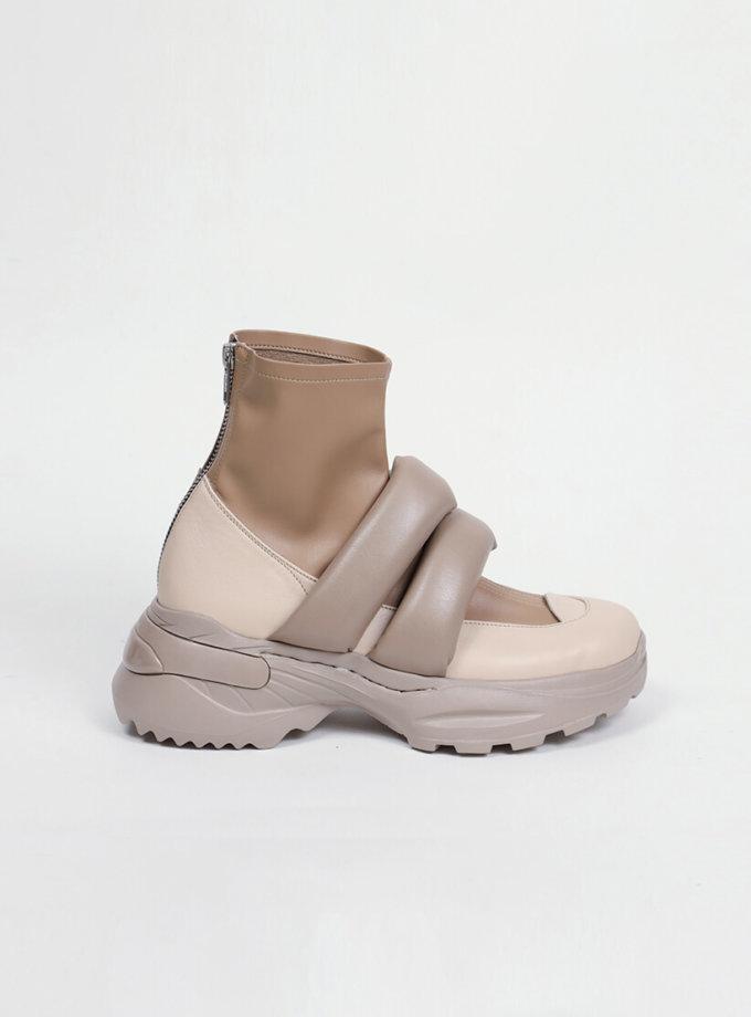Ботинки из кожи с дутыми ремнями CLS_CFW20PBB_beige, фото 1 - в интеренет магазине KAPSULA