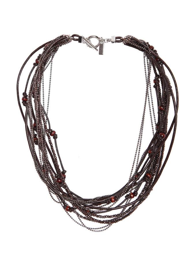 Браслет из кожаных шнуров и деревянных бусин NTB_NB020B, фото 1 - в интеренет магазине KAPSULA
