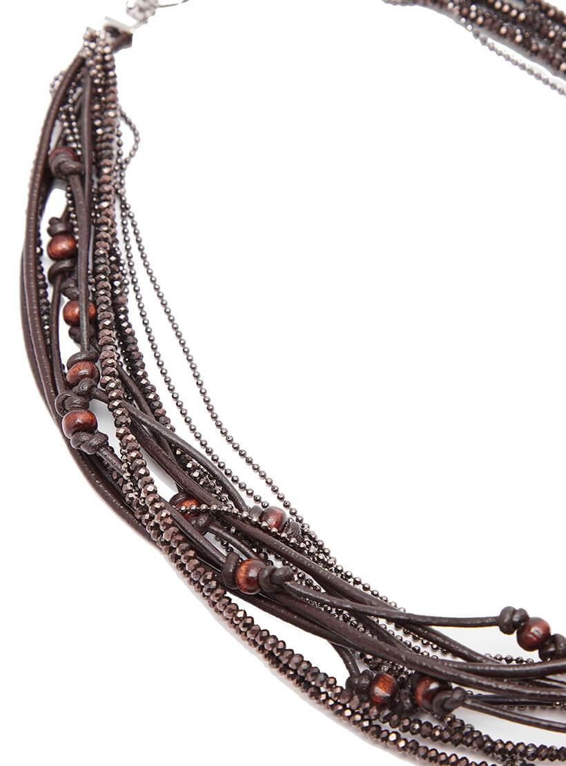Браслет из кожаных шнуров и деревянных бусин NTB_NB020B, фото 1 - в интернет магазине KAPSULA