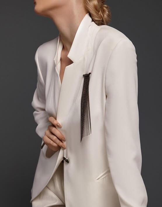 Брошь вуаль с косым срезом NTB_NB064BR, фото 4 - в интеренет магазине KAPSULA