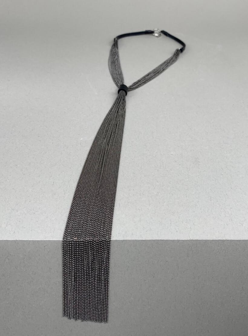 Галстук с монили и кожи NTB_NB110G, фото 1 - в интернет магазине KAPSULA