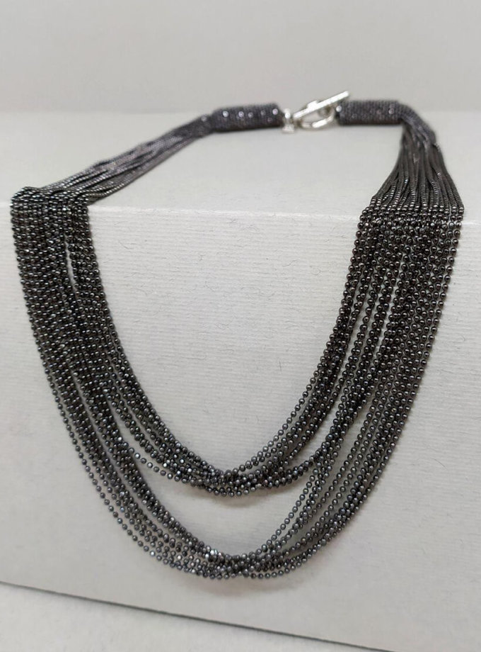 Ожерелье из темных нитей монили NTB_NB282O, фото 1 - в интеренет магазине KAPSULA
