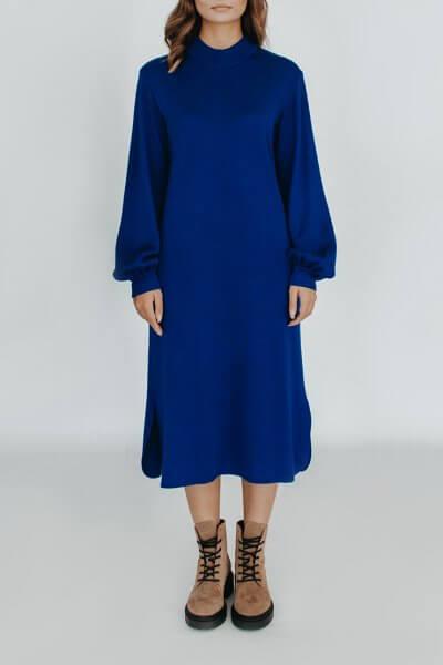Платье с объемними рукавами NBL_2008-DRFLBLU, фото 1 - в интеренет магазине KAPSULA