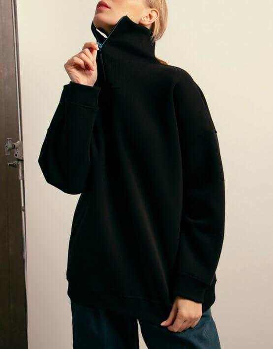 Хлопковый свитшот с молнией NM_406, фото 4 - в интеренет магазине KAPSULA