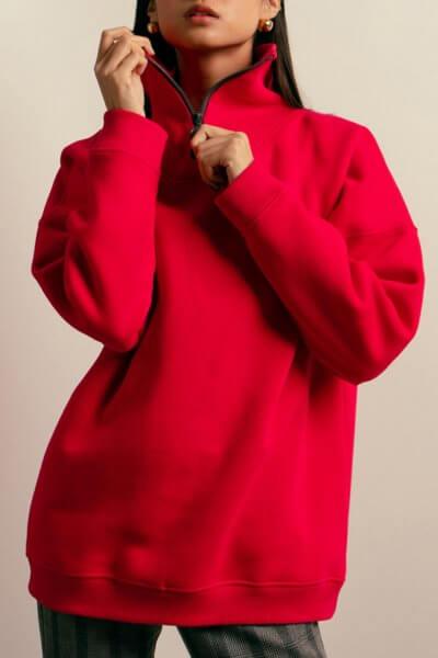 Хлопковый свитшот с молнией NM_407, фото 1 - в интеренет магазине KAPSULA