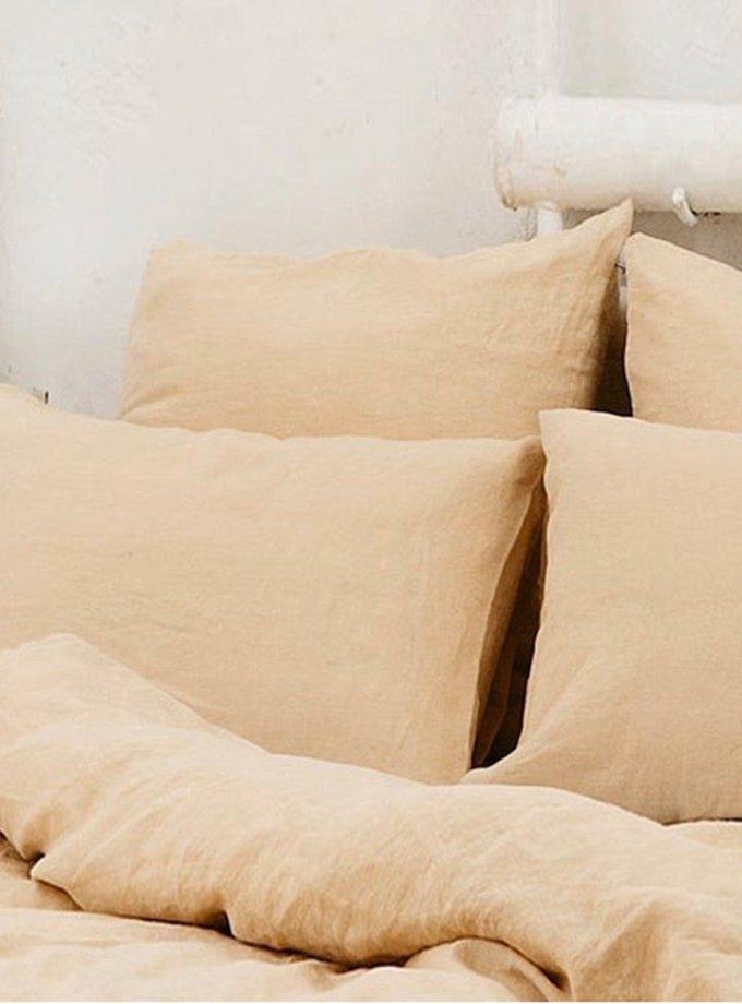 Двуспальный комплект белья Mellow Peach из льна LL_901_3, фото 1 - в интернет магазине KAPSULA