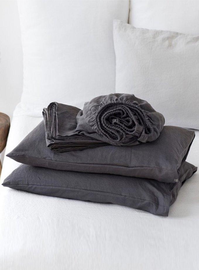 Комплект белья Euro Graphite из льна LL_906_4, фото 1 - в интернет магазине KAPSULA