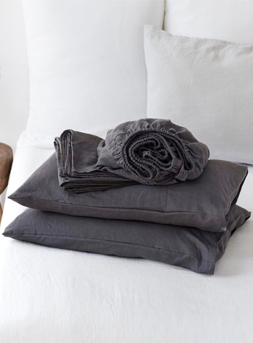 Комплект белья Euro Graphite из льна LL_906_4, фото 1 - в интеренет магазине KAPSULA