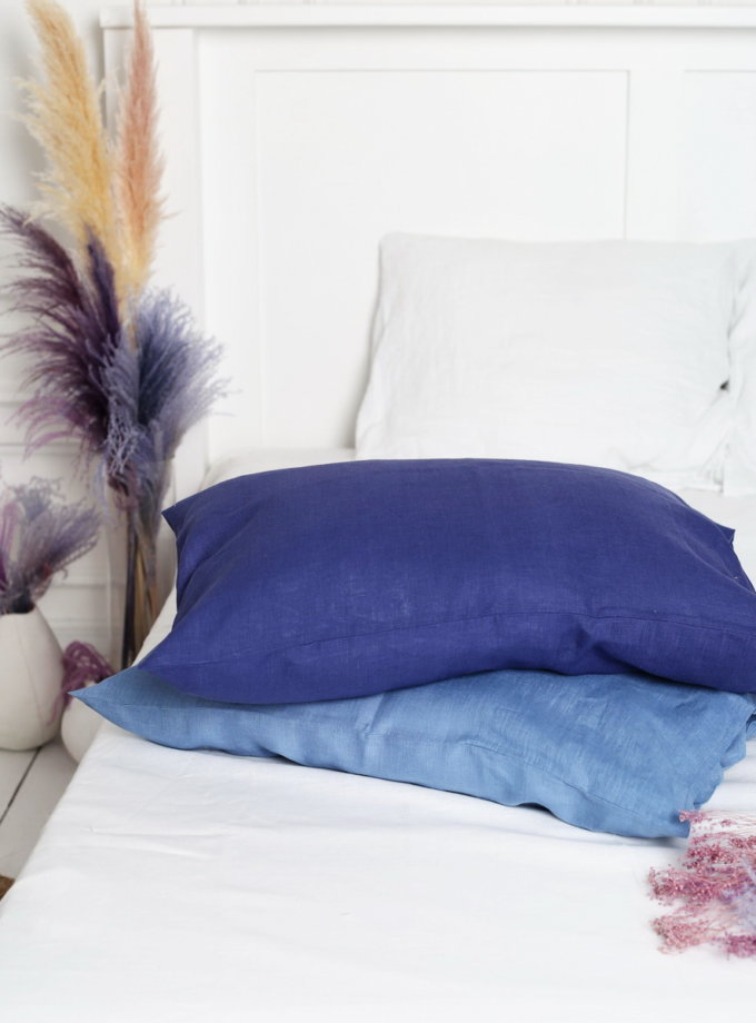 Двухцветный комплект белья Blue из льна LL_blue-2, фото 1 - в интернет магазине KAPSULA