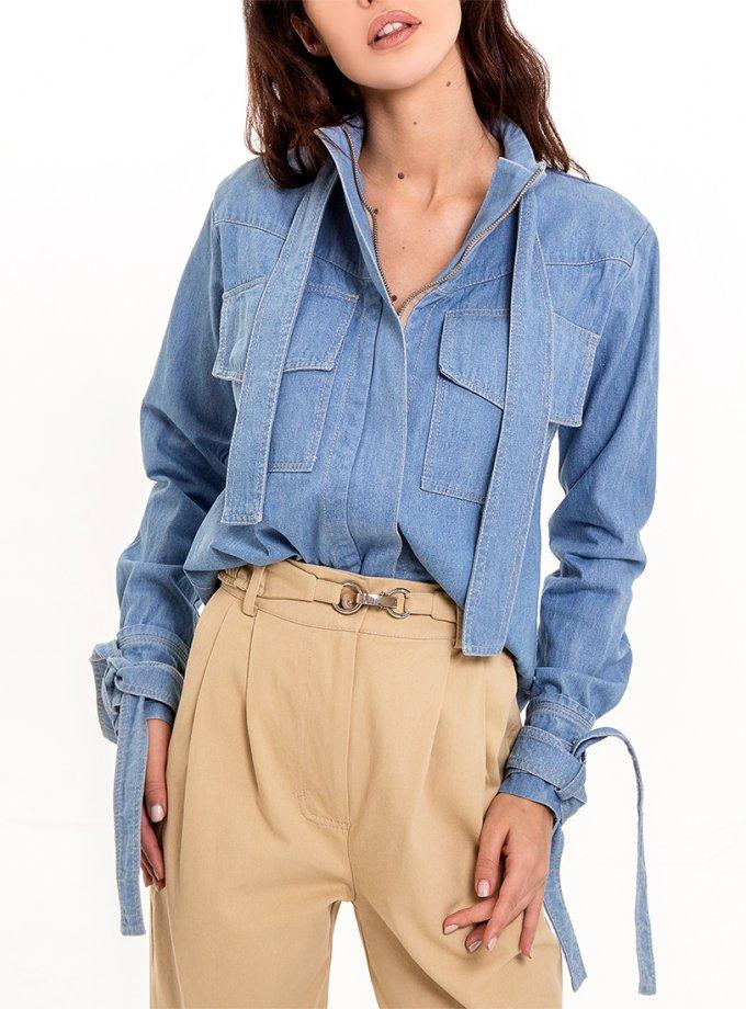 Джинсовая рубашка-жакет на молнии XM_Nat_17, фото 1 - в интеренет магазине KAPSULA