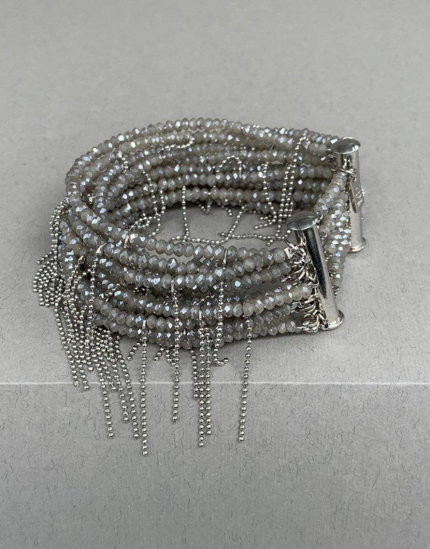 Браслет серо-бежевый с серыми нитями монили NTB_NB032B, фото 1 - в интернет магазине KAPSULA