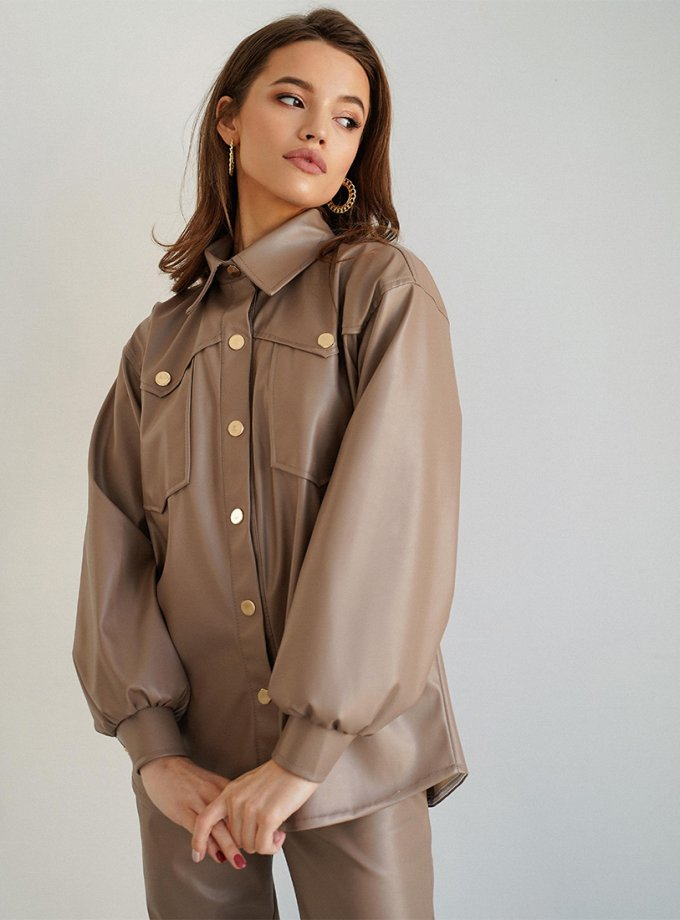 Рубашка Naomi из эко-кожи MC_MY3321-1, фото 1 - в интернет магазине KAPSULA