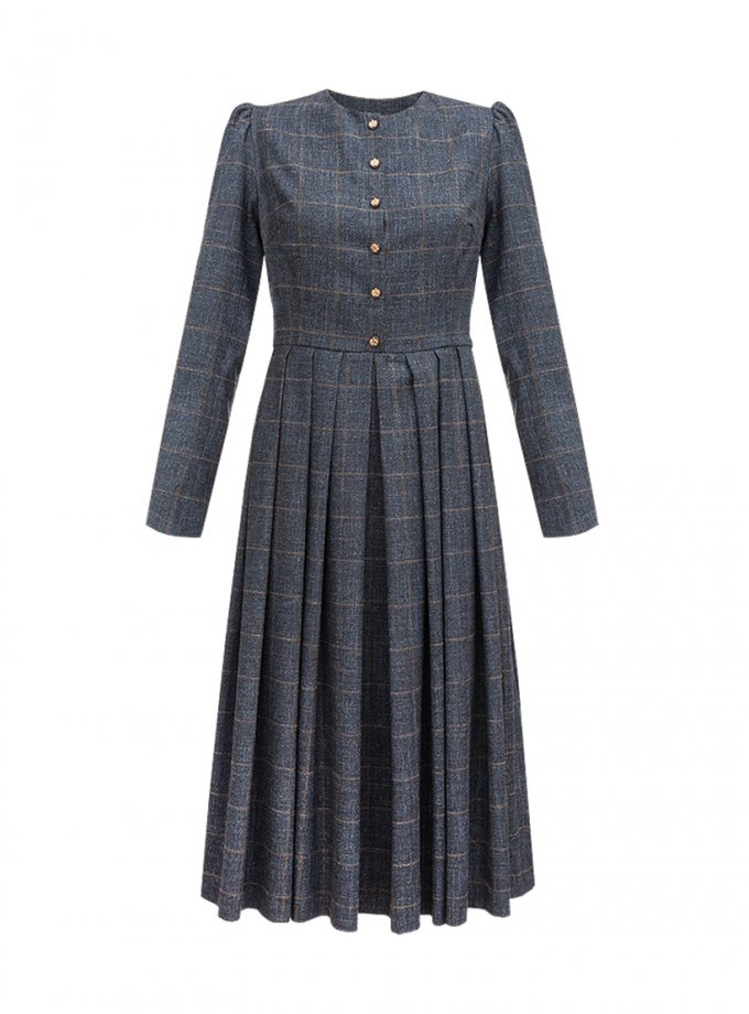 Платье серое в клетку SOL_SOW_2020SD02, фото 1 - в интернет магазине KAPSULA
