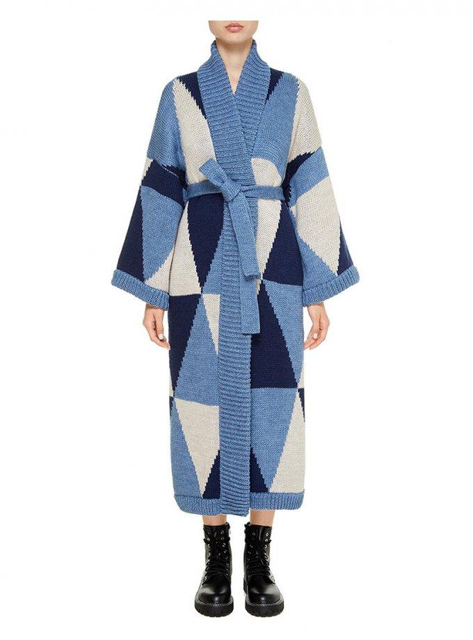 Пальто на запах из шерсти NTK_stykhiya, фото 1 - в интеренет магазине KAPSULA