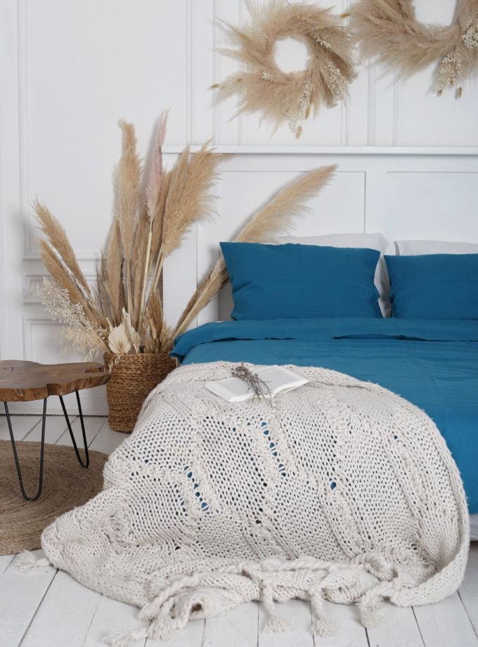 Двуспальный комплект белья Turquoise из льна LL_Turquoise-2, фото 1 - в интернет магазине KAPSULA