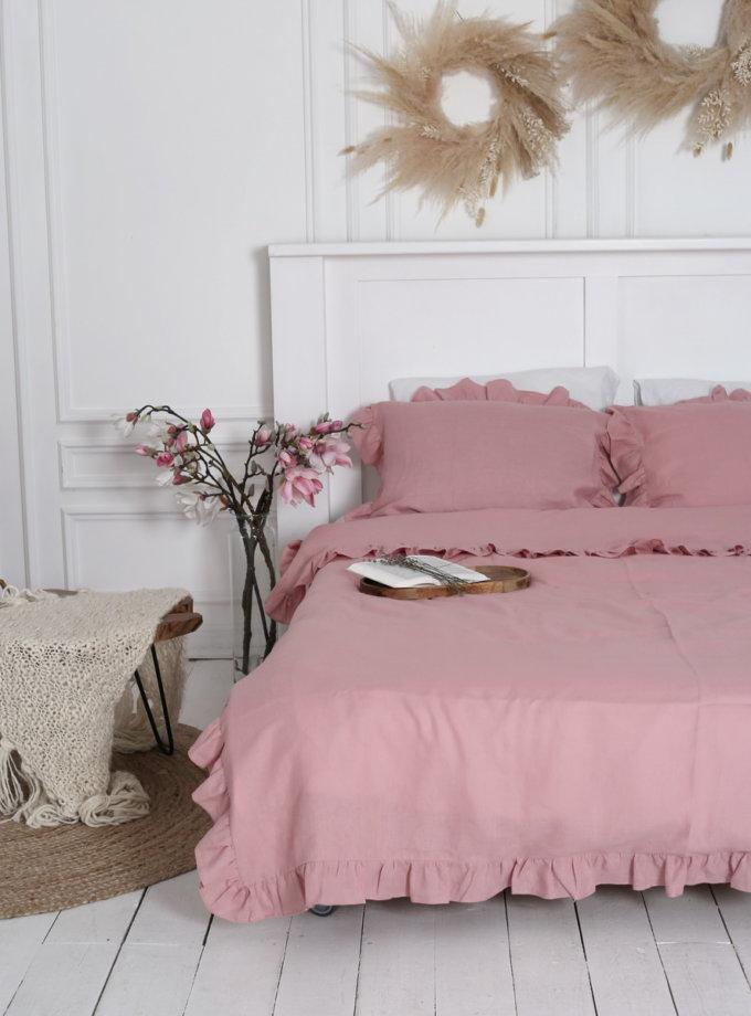 Двуспальный комплект белья с рюшами Orchid из льна LL_Orchid-2, фото 1 - в интернет магазине KAPSULA