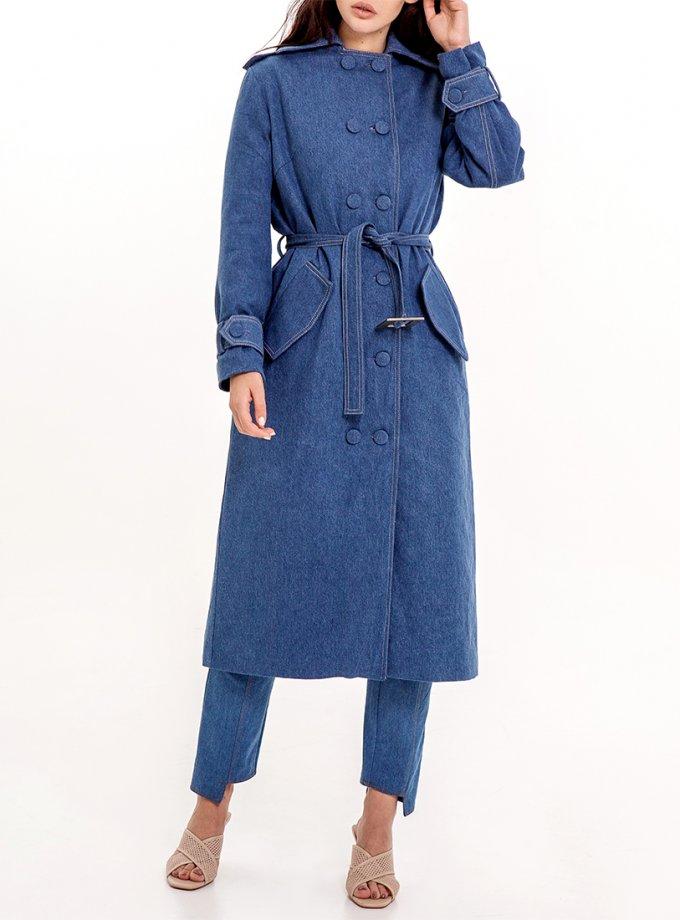 Утепленное джинсовое пальто с платком XM_Nat_8, фото 1 - в интеренет магазине KAPSULA