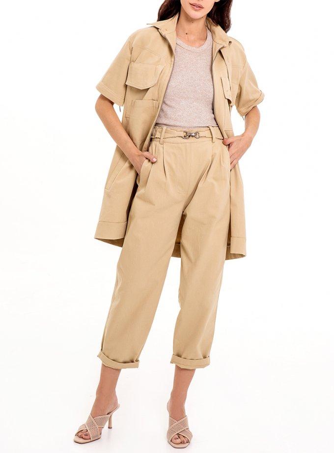 Хлопковые брюки с защипами XM_Nat_14, фото 1 - в интеренет магазине KAPSULA