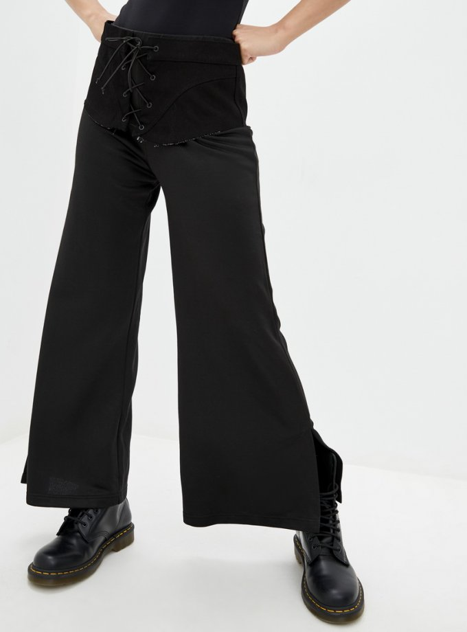 Хлопковые брюки с баской из денима BI_OS100, фото 1 - в интеренет магазине KAPSULA