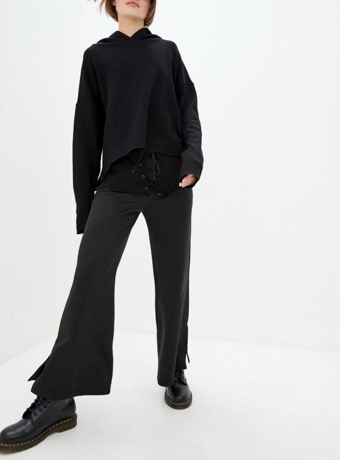 Хлопковые брюки с баской из денима BI_OS100, фото 1 - в интернет магазине KAPSULA