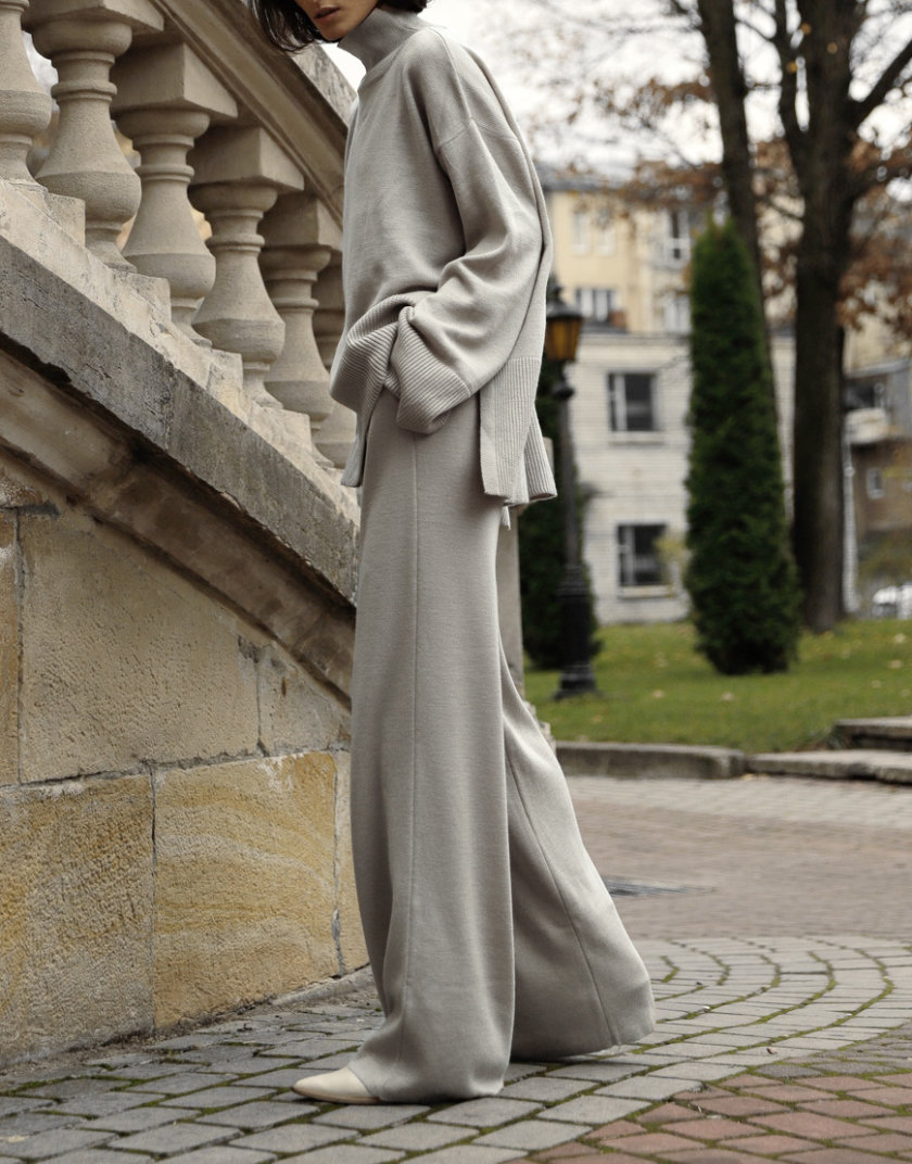 Костюм из шерсти с широкими брюками FRBC_FBКTov-beige, фото 1 - в интернет магазине KAPSULA