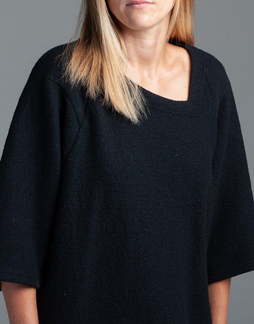 Шерстяной свитшот XOB с асимметричной горловиной FRM_XIM_04B_B, фото 1 - в интеренет магазине KAPSULA