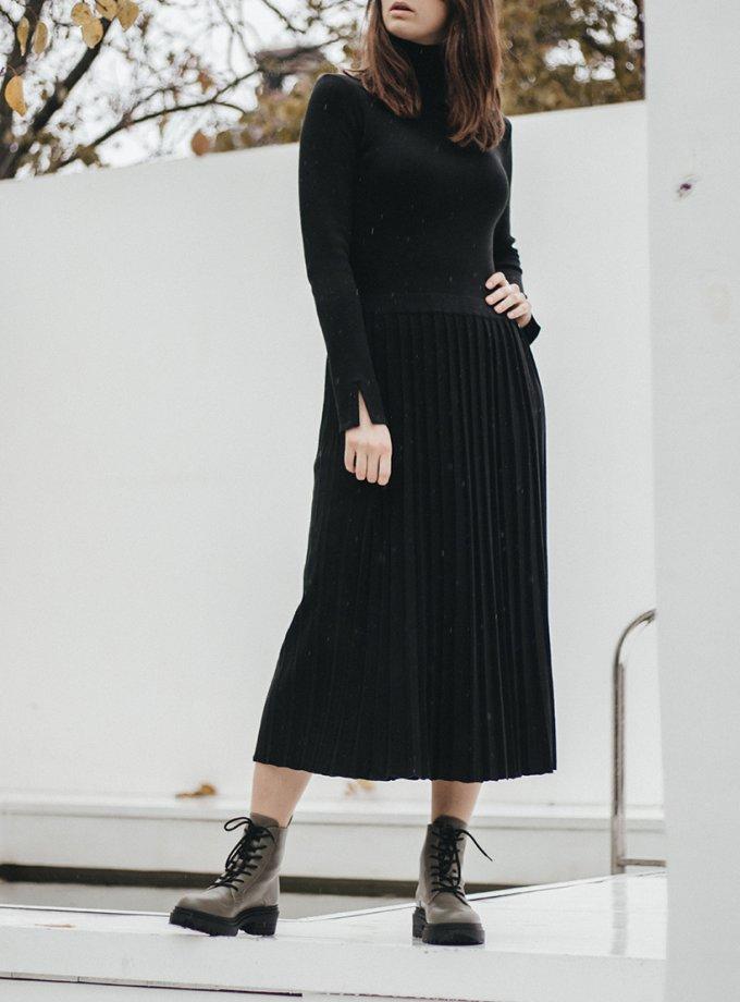 Платье миди с юбкой-плиссе NBL_2010-DRPIEATBLACK, фото 1 - в интеренет магазине KAPSULA