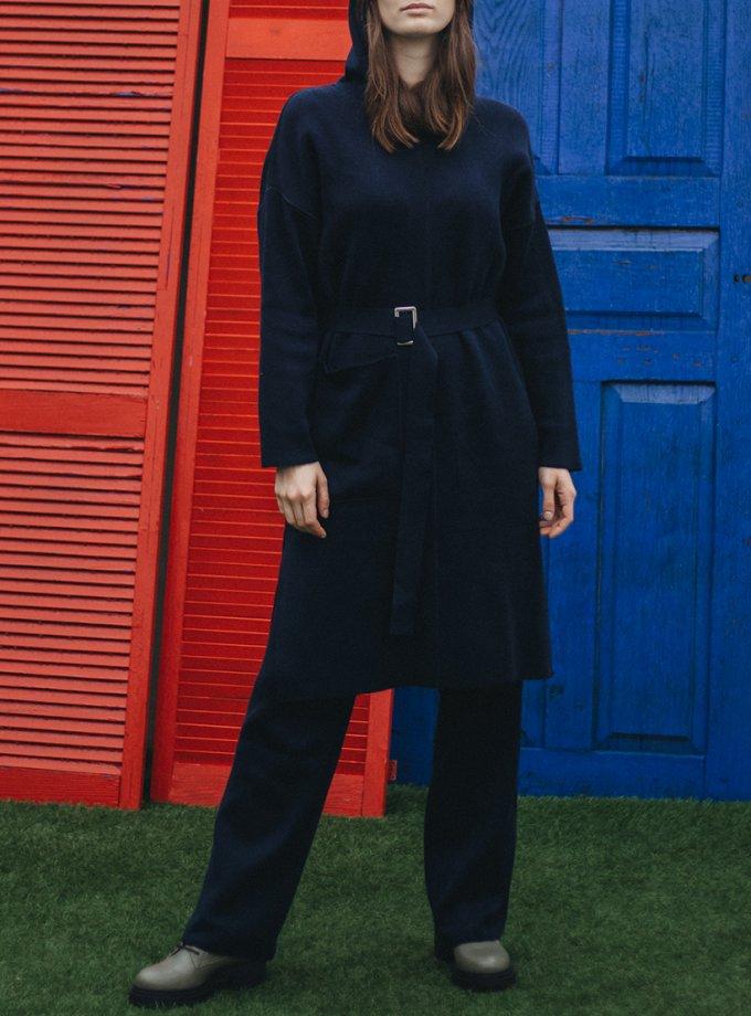 Платье из шерсти с капюшоном и поясом KBL_2011-DRESSHООDIBLU, фото 1 - в интеренет магазине KAPSULA