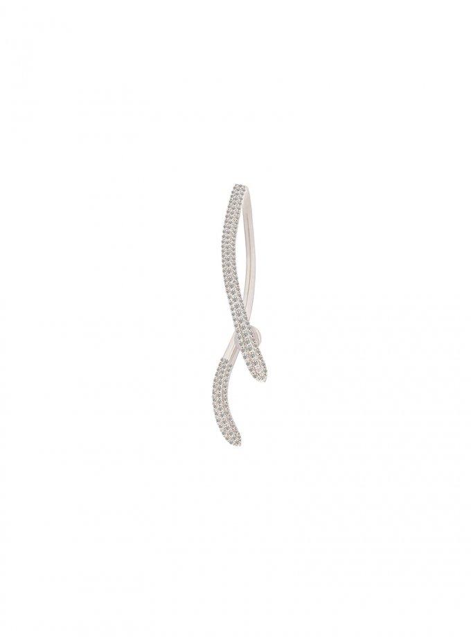 Серебряная моносерьга SERPENTINE с фианитами AA_3c089-0003m, фото 1 - в интеренет магазине KAPSULA