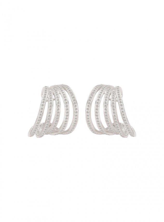 Серебряные серьги PARAMETRIC с фианитами AA_3C089-0016, фото 1 - в интеренет магазине KAPSULA