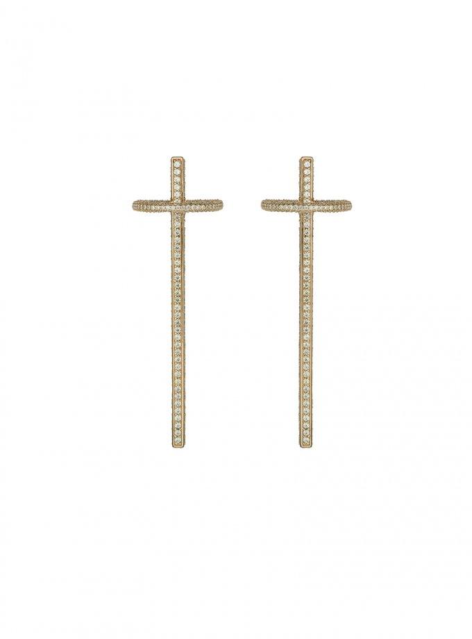 Серебряные серьги SATURN yellow с фианитами AA_3C155-0065, фото 1 - в интеренет магазине KAPSULA