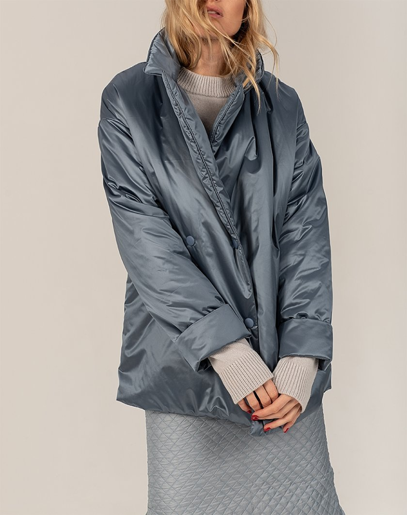 Короткий пуховик Gray-blue WNDR_win_21_djbl_02, фото 1 - в интернет магазине KAPSULA