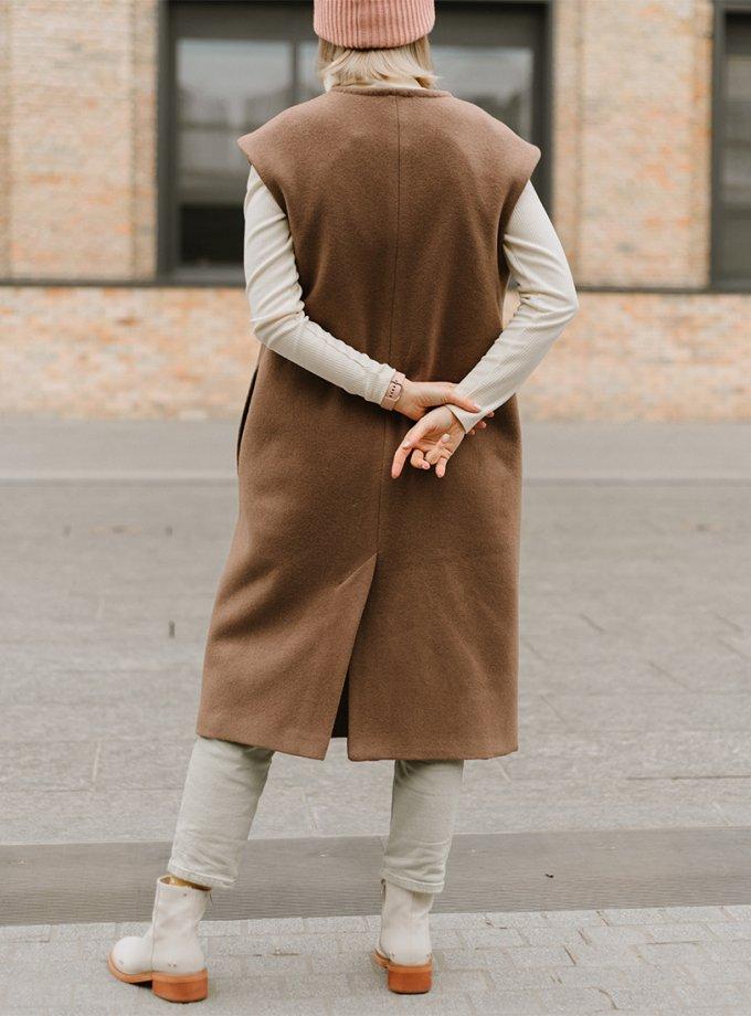Теплый жилет с поясом MNTK_MTF2054, фото 1 - в интеренет магазине KAPSULA
