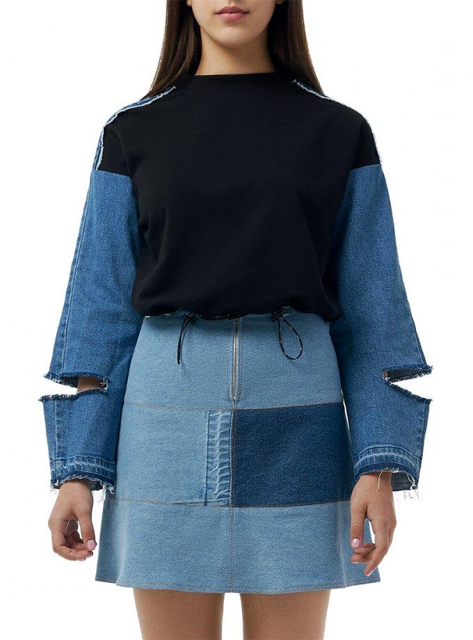 Хлопковый свитшот с джинсовыми рукавами WNDM_swds, фото 1 - в интеренет магазине KAPSULA
