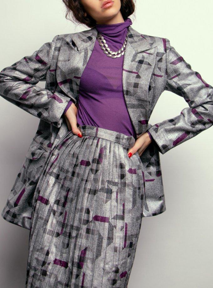 Серебристая юбка в принт NM_367-skirt, фото 1 - в интернет магазине KAPSULA