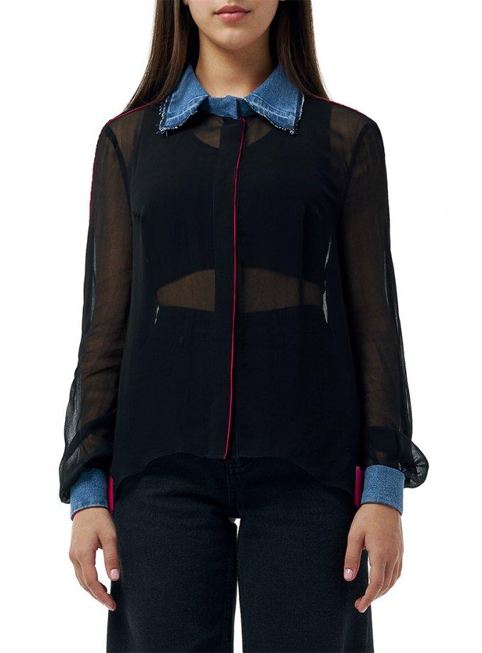 Комбинированная блуза из хлопка WNDM_bdcb, фото 1 - в интеренет магазине KAPSULA