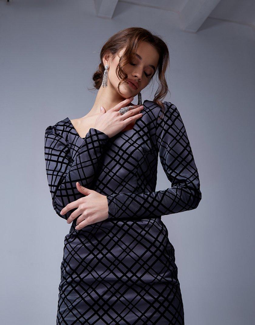 Платье с бархатными полосками Graff MC_MY2030, фото 1 - в интернет магазине KAPSULA