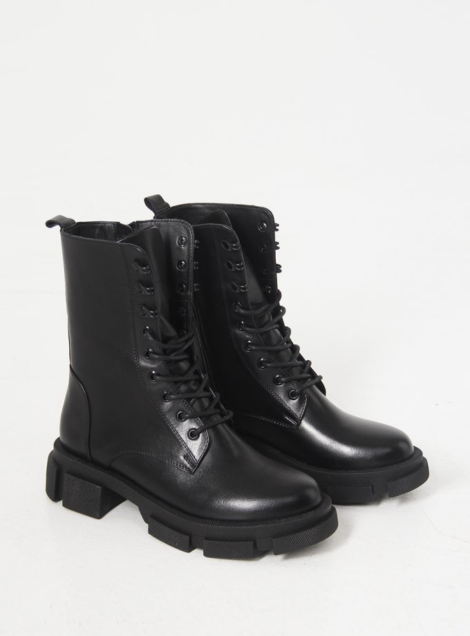 Кожаные ботинки с утеплителем NZR_Bobbi-black, фото 1 - в интеренет магазине KAPSULA