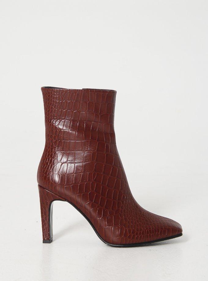 Кожаные ботинки на каблуке NZR_Liza-brown, фото 1 - в интеренет магазине KAPSULA
