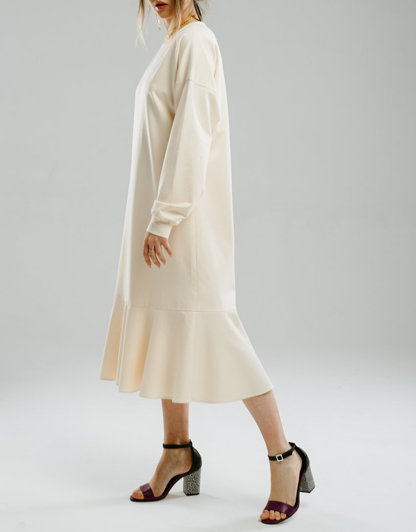 Платье миди с воланом MNTK_MTS2104, фото 1 - в интеренет магазине KAPSULA