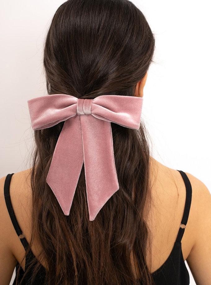 Бархатный бант на заколке Pink NT_NTCK2PVE, фото 1 - в интернет магазине KAPSULA