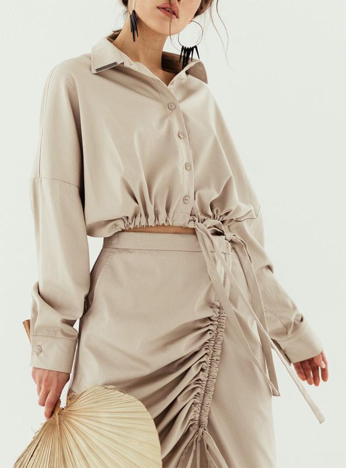 Рубашка укороченная oversize SE_SE19_Shrt_Crpd_Vrsz_Bg, фото 1 - в интернет магазине KAPSULA