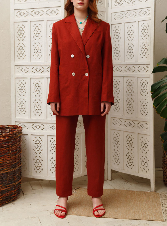 Прямые брюки из льна VONA_SS-21-02, фото 1 - в интернет магазине KAPSULA